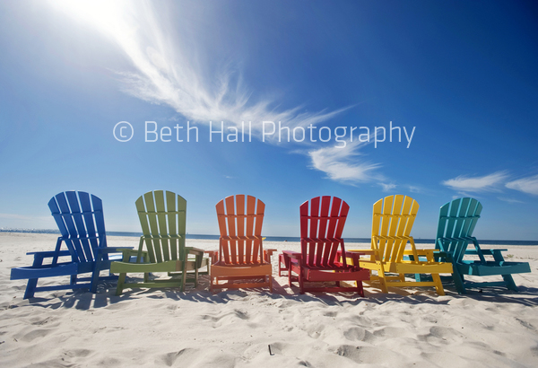 Colorful Row Of Adirondack Chairs On The Beach U2013 Stock Photography U2013 Beth  Hall